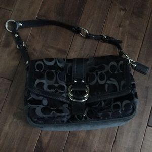 Coach Purse Black with Suede Bottom